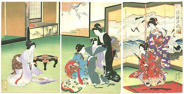 Ukiyo-e Chikanobu Einkleidezeremonie eines Jungen
