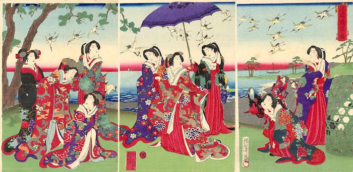 Ukiyo-e Chikanobu Kraniche