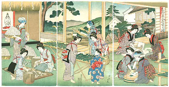 Ukiyo-e Chikanobu Raupenzucht