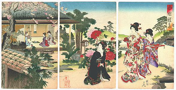 Ukiyo-e Chikanobu Teehaus und Damen im Kimono