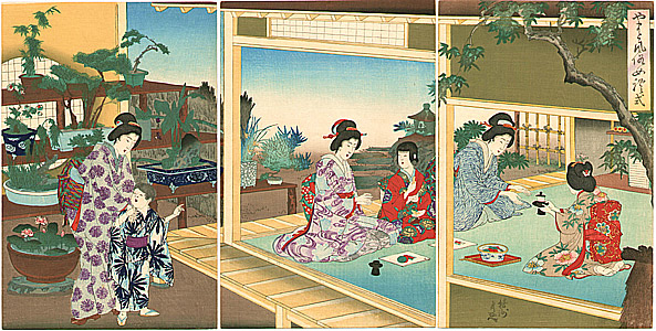 Ukiyo-e Chikanobu Bonsai und Teezeremonie