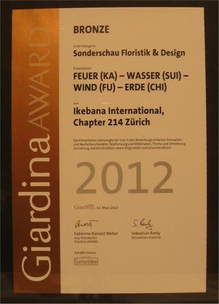 Giardina 2012 Ikebana International Ausstellung Bronze Award  fuer II
