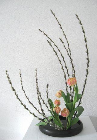 Ikebana Moribana Handgefertigte Keramik F�hlingsgesteck