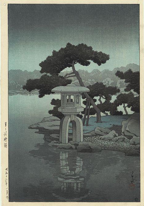 Hasui Kawase Mondschein beim Kiyosumi Garten mit Steinlaterne