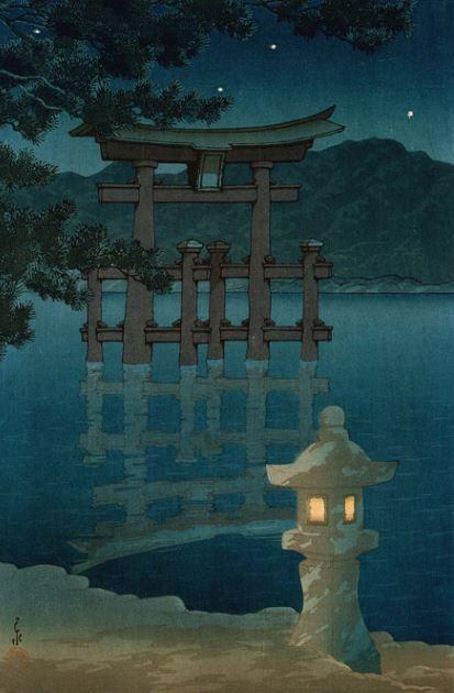 Kawase Hasui Miyajima bei Sternennacht Shin Hanga