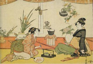 Kitagawa Utamaro Ikebana Wettstreit zwischen Okita und Ohisa.jpg