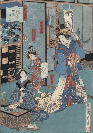 Kunisada_II_3 Geisha_mit_Hibachi
