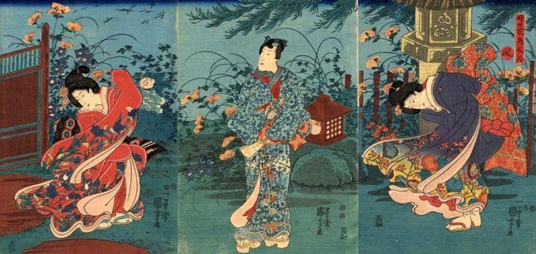 Kuniyoshi Utagawa Tale of Genji Steinlaterne