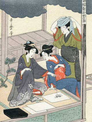 Utamaro Kitagawa Joshoku Kaiko Tewaza Kusa Bild07