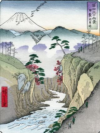 Hiroshige 36 views of Mount Fuji Dog Eye Pass
