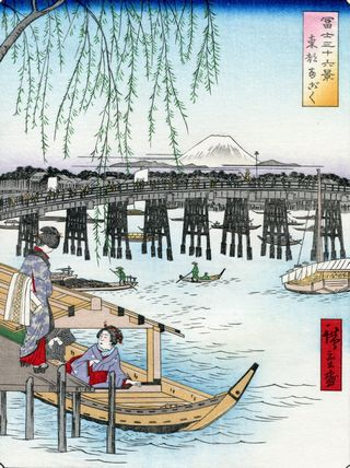 Hiroshige 36 views of Mount Fuji Ryogoku in the Eastern Capital