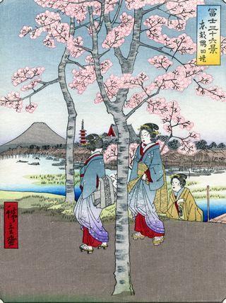 Hiroshige 36 views of Mount Fuji Sumida Enbankment in the Eastern Capital