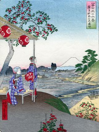 Hiroshige 36 views of Mount Fuji Teahouse with View of Mt Fuji at Zoshigawa