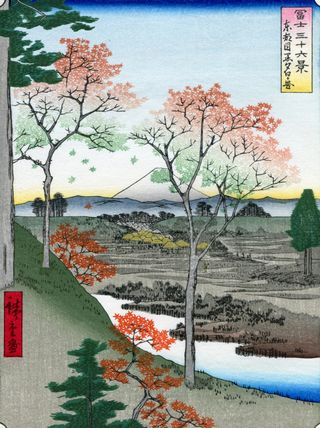 Hiroshige 36 views of Mount Fuji Twilight Hill at Meguro