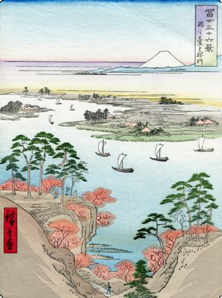 Hiroshige 36 views of Mount Fuji Wild Goose Hill and the Tone River
