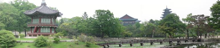 Gyeongbokgung-Palast Seoul Gartenanlage mit Pavillon