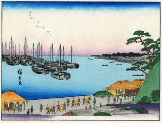 Hiroshige Drei Ansichten berühmter Plätze in Edo Mondschein bei Takanawa