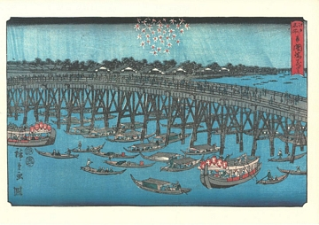 Hiroshige Famous Views in Edo Fireworks